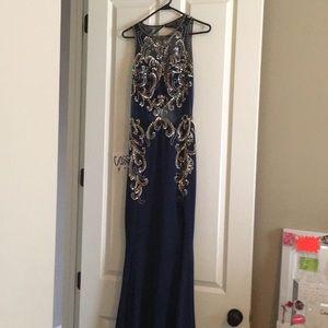 Navy beaned prom dress